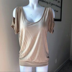 New York & Company Open Shoulder Sleeve Tan Top